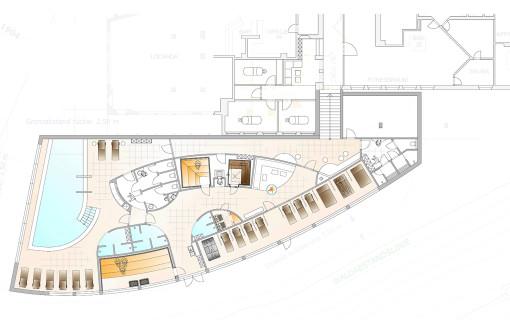 Lageplan des neuen Alpine Spa-Bereichs