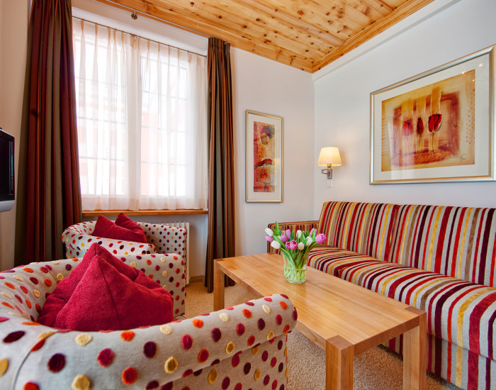 Gehobener Komfort: Die Junior-Suiten im Vier-Sterne-Hotel Prätschli in Arosa.